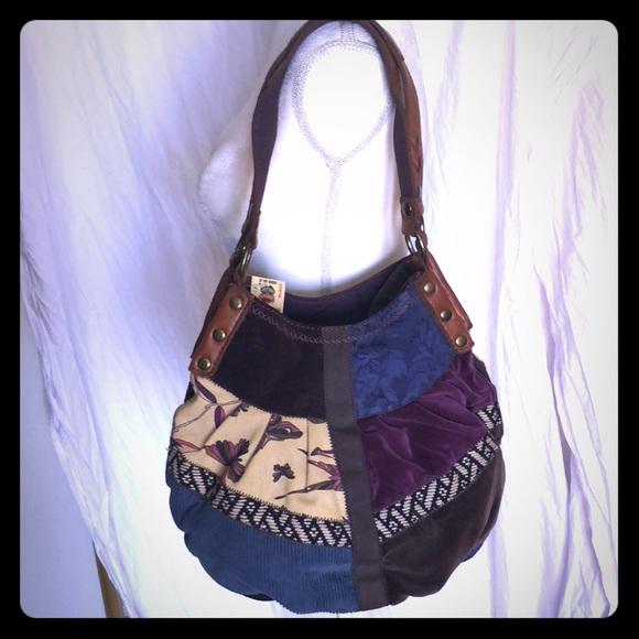 NWT Lucky Brand Velvet and Leather Hobo Bag 8ba79c8d2871e